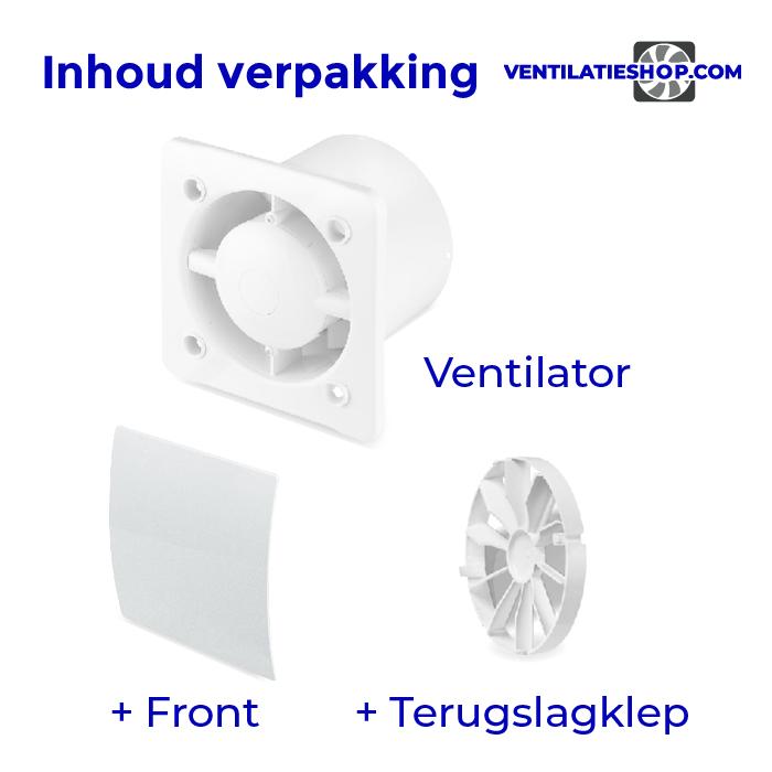 Pro Design badkamertoilet ventilator MET TIMER (KW125T) Ø125mm kunststof wit