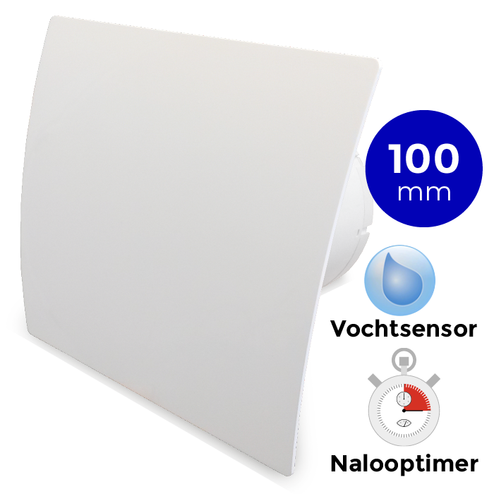 Pro Design badkamerventilator TIMER + VOCHTSENSOR (KW100H) Ø 100mm kunststof wit