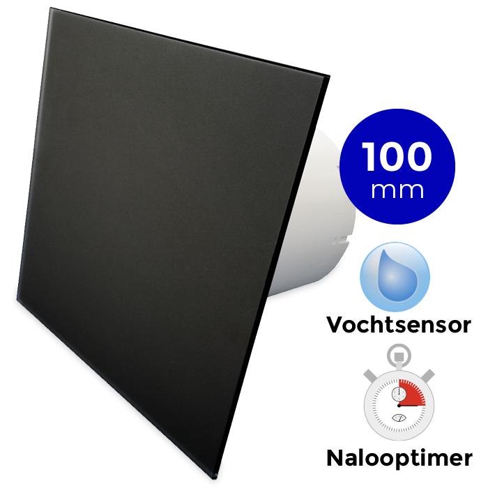 Badkamerventilator Met Timer Vochtsensor 100mm Vlak Mat Zwart Glas