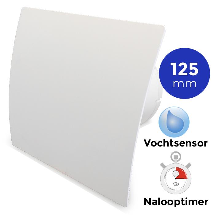 Badkamerventilator Met Timer Vochtsensor 125mm Gebogen Kunststof Wit