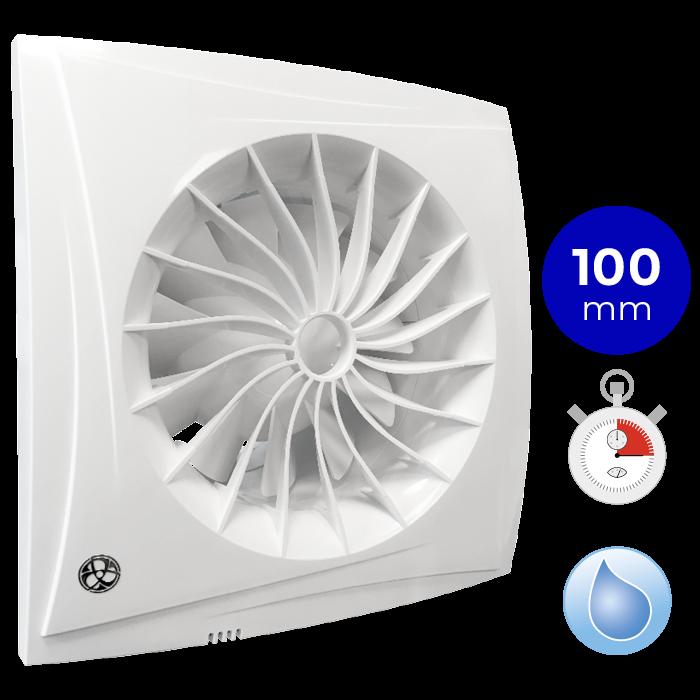 Badkamertoilet ventilator Blauberg Sileo Ø 100mm MET TIMER + VOCHTSENSOR (SILEO100H)