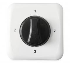 3-standen regelaar (+ uit-stand) voor ventilatoren met 3-standen motor(wisselstroom)