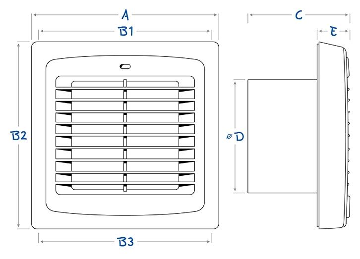 Afmetingen Blauberg AUTO met automatische lamellen