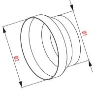 Kunststof verloopstuk van 125mm naar 100mm ventilatie