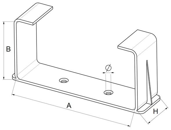 Kunststof beugel voor rechthoekig kanaal - Ventilatieshop
