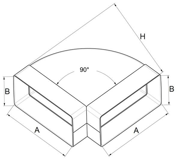 Kunststof horizontale bocht 90° afmetingen - Ventilatieshop