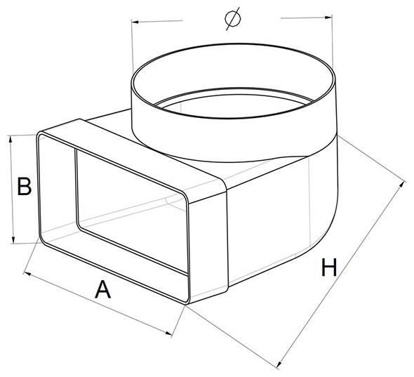 Kunststof lepelhoek afmetingen - Ventilatieshop