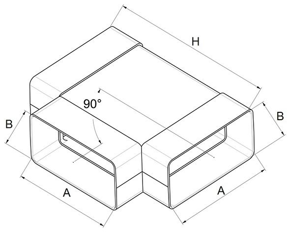 Kunststof horizontaal T-stuk 90° afmetingen - Ventilatieshop
