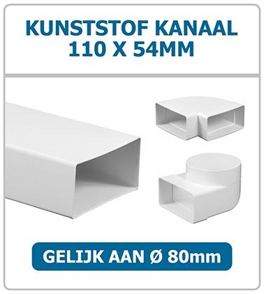 Rechthoekige kunststof kanalen 110 x 54mm