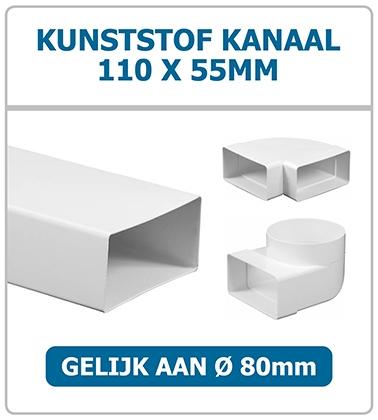 Rechthoekige kunststof kanalen 110 x 55mm