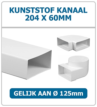 Ventilatiebuis 204 x 60mm kunststof