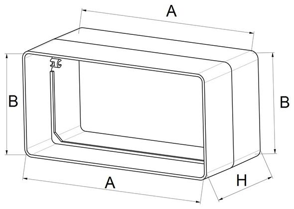 Kunststof verbinding rechthoekig kanaal - Ventilatieshop