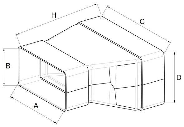 Kunststof rechthoekig verloop afmetingen - Ventilatieshop