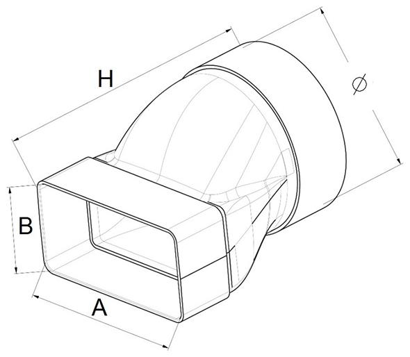 Kunststof verloop rechthoekig naar rond afmetingen - Ventilatieshop