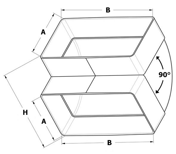 Kunststof verticale bocht 90° afmetingen - Ventilatieshop