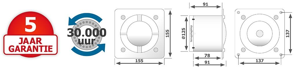 Design badkamerventilator 125mm met verwisselbare fronts kunststof, RVS en glas