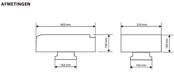 Afmetingen  Compakta pijpdak ventilator 42y