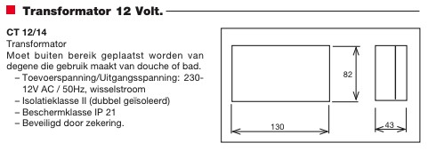 Transformator CT-12/14-R 230 volt naar 12 volt travo