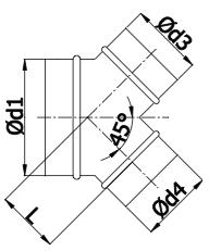 Y-stuk (broekstuk) voor spirobuis met 45 graden aftakkingen