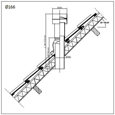Dakdoorvoer geisoleerd 166 voor afvoer 150mm Ubbink