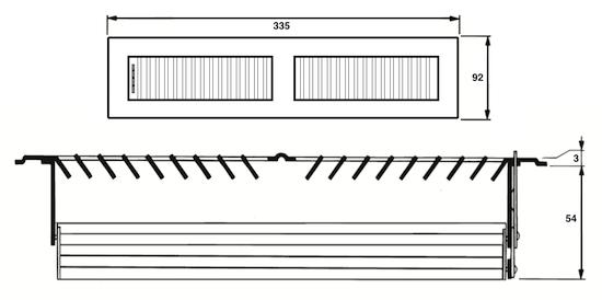 maattekening vloerroosters VS305-57 vloerverwarming