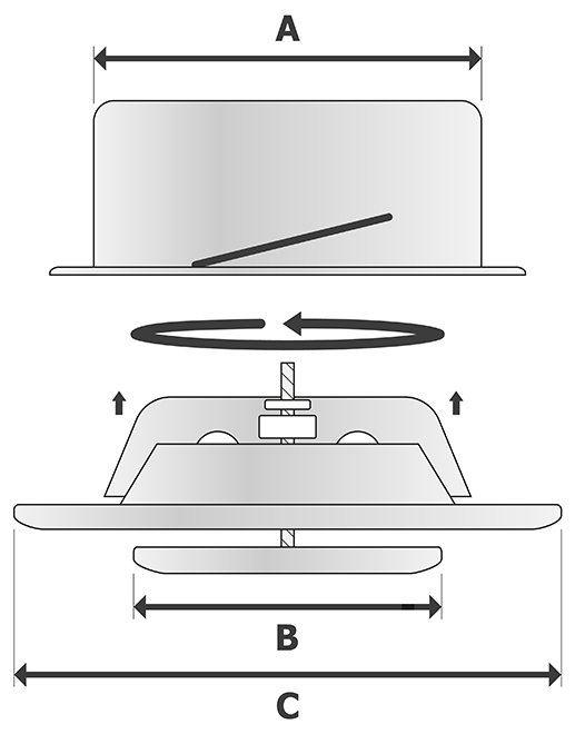 RVS afzuigventiel ventilatierooster VSS