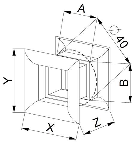 Kunststof deurrooster afmetingen 45 x 45mm - Ventilatieshop
