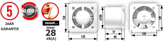 Design badkamerventilator met verwisselbare fronts Glas en RVS