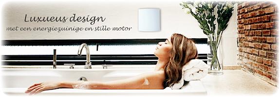 Luxe badkamerventilator met front in glas, rvs of kunststof