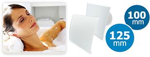 Badkamerventilator met front glas wit, vlak of gebogen