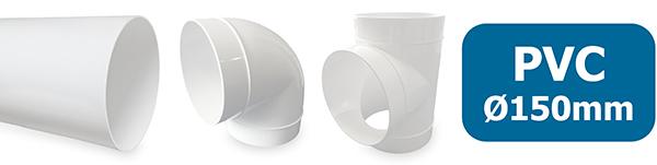 PVC kanalen en hulpstukken ventilatie 150mm