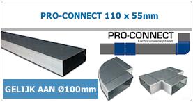 Pro-Connect luchtkanalen systeem rechthoekig staal 110 x 55mm