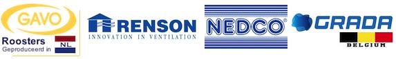 Ventilatieroosters en luchtventielen van Grada, Renson, Gavo en Nedco