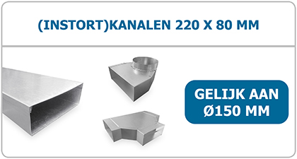Instort kanalen 220 x 80mm rechhoegig van staal