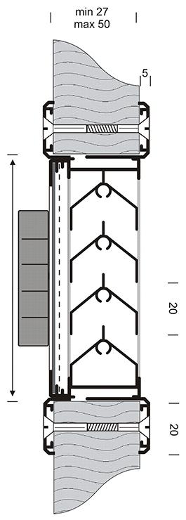 Tekening GAVO G31A afsluitbaar deurrooster